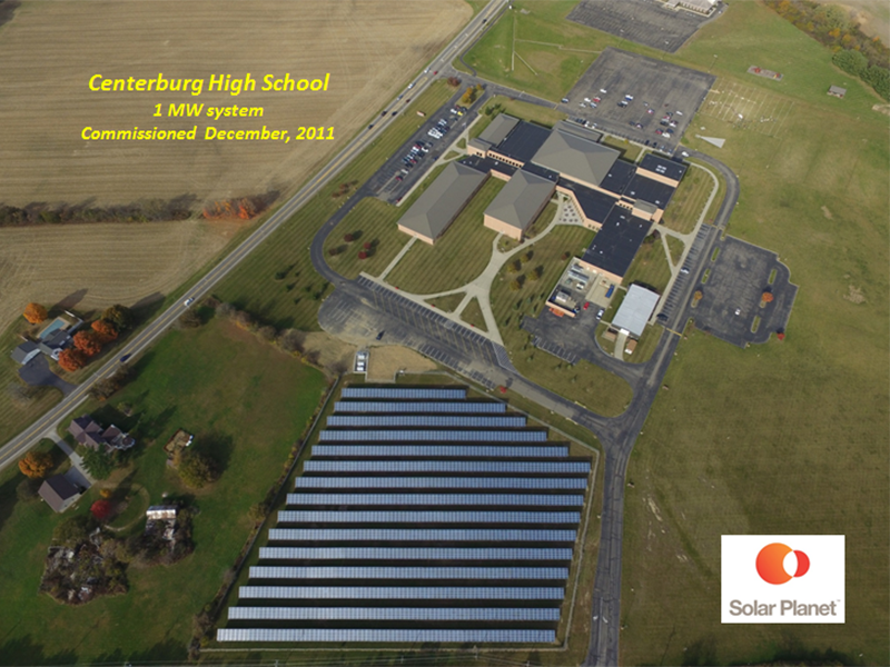 Centerburg High School - 1 MW system Commissioned December, 2011