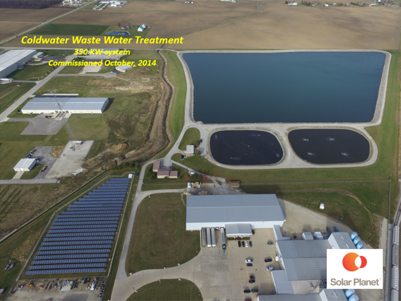 Coldwater Waste Water Treatment - 350 KW system Commissioned October, 2014